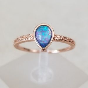 Jewelry - 18k Over Sterling Blue Opal Ring